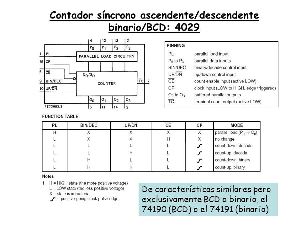 Contador síncrono ascendente/descendente binario/BCD: 4029 De características similares pero exclusivamente BCD o binario, el 74190 (BCD) o el 74191 (