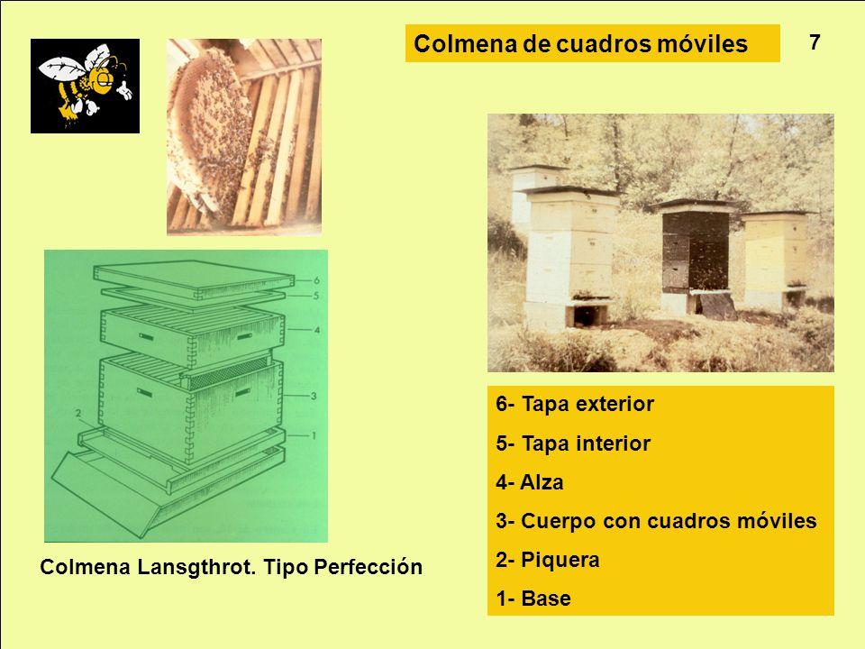 Apicultura 7 Colmena de cuadros móviles Colmena Lansgthrot. Tipo Perfección 6- Tapa exterior 5- Tapa interior 4- Alza 3- Cuerpo con cuadros móviles 2-