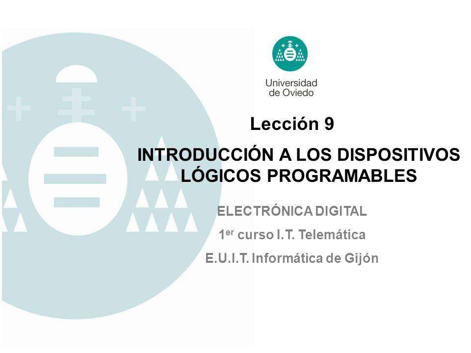 Lección 9 ELECTRÓNICA DIGITAL 1 er curso I.T. Telemática E.U.I.T. Informática de Gijón INTRODUCCIÓN A LOS DISPOSITIVOS LÓGICOS PROGRAMABLES