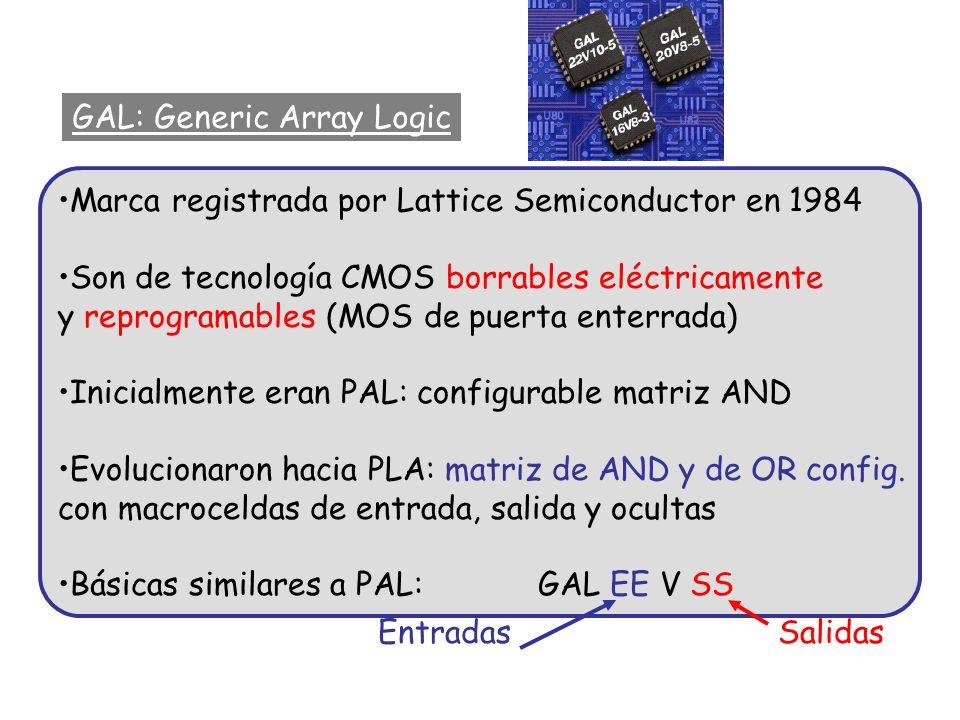 GAL: Generic Array Logic Marca registrada por Lattice Semiconductor en 1984 Son de tecnología CMOS borrables eléctricamente y reprogramables (MOS de p