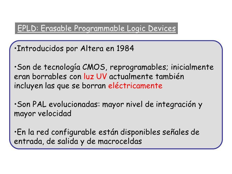 EPLD: Erasable Programmable Logic Devices Introducidos por Altera en 1984 Son de tecnología CMOS, reprogramables; inicialmente eran borrables con luz
