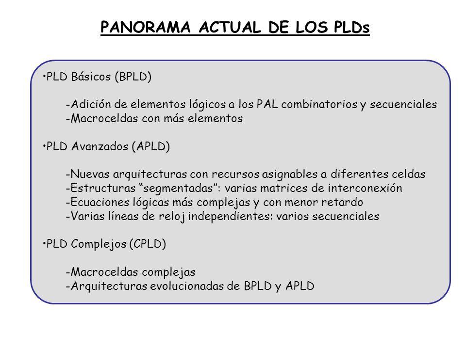 PLD Básicos (BPLD) -Adición de elementos lógicos a los PAL combinatorios y secuenciales -Macroceldas con más elementos PLD Avanzados (APLD) -Nuevas ar