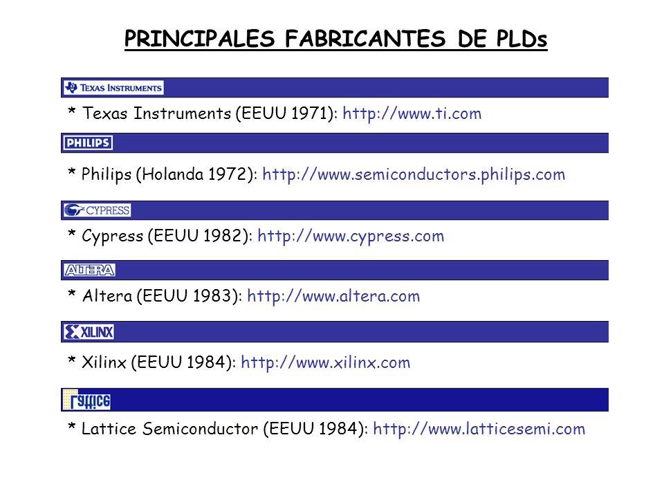* Altera (EEUU 1983): http://www.altera.com * Lattice Semiconductor (EEUU 1984): http://www.latticesemi.com* Xilinx (EEUU 1984): http://www.xilinx.com