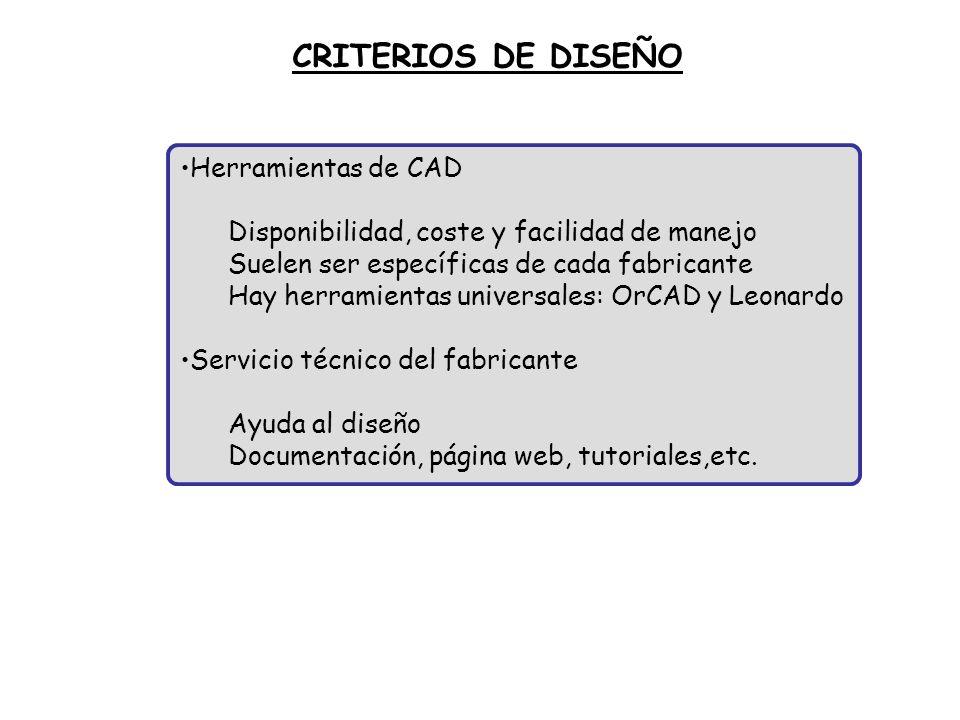 Herramientas de CAD Disponibilidad, coste y facilidad de manejo Suelen ser específicas de cada fabricante Hay herramientas universales: OrCAD y Leonar