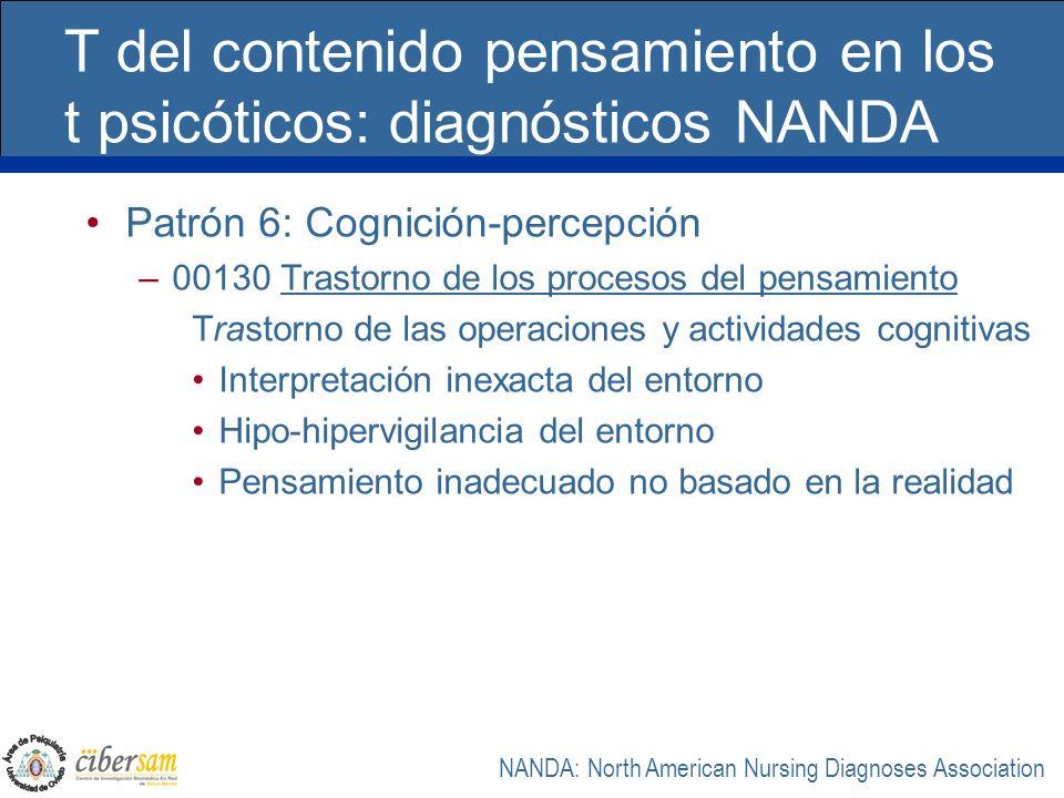T del contenido pensamiento en los t psicóticos: diagnósticos NANDA Patrón 6: Cognición-percepción –00130 Trastorno de los procesos del pensamiento Tr