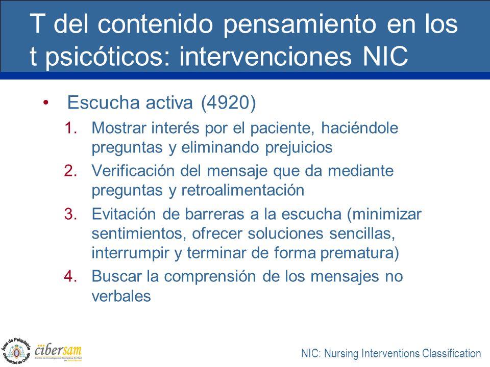 T del contenido pensamiento en los t psicóticos: intervenciones NIC Escucha activa (4920) 1.Mostrar interés por el paciente, haciéndole preguntas y el