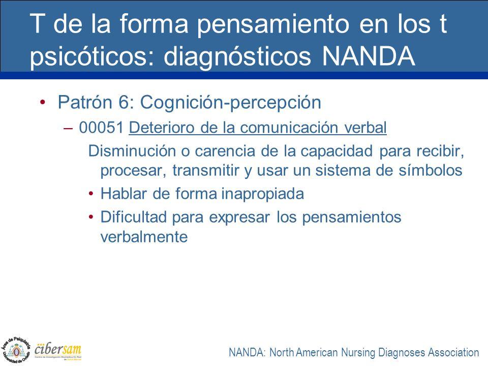 T de la forma pensamiento en los t psicóticos: diagnósticos NANDA Patrón 6: Cognición-percepción –00051 Deterioro de la comunicación verbal Disminució