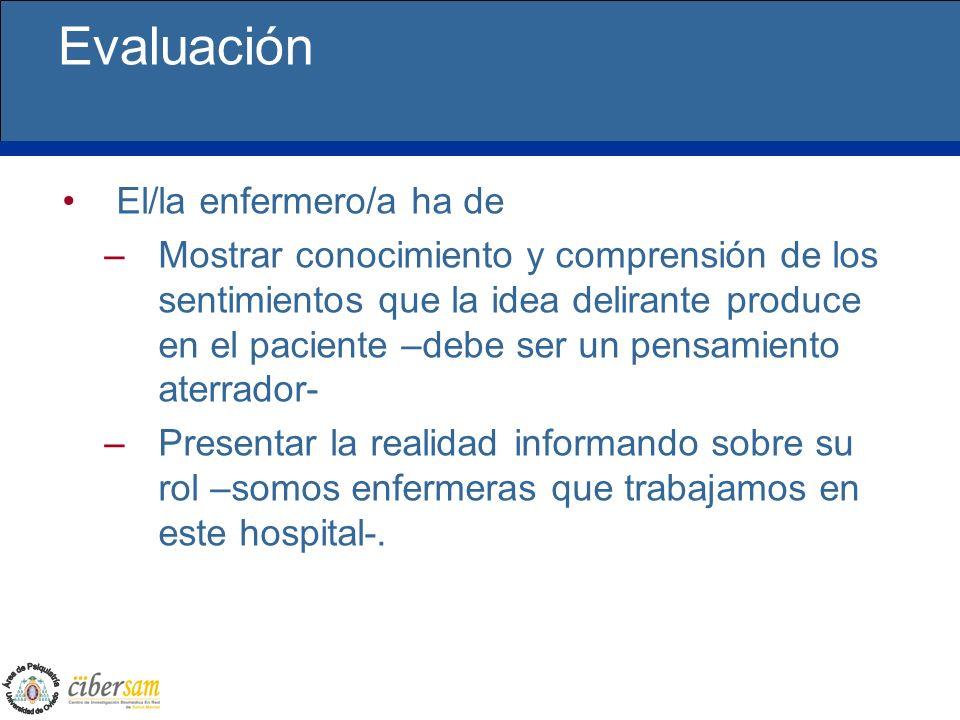 Evaluación El/la enfermero/a ha de –Mostrar conocimiento y comprensión de los sentimientos que la idea delirante produce en el paciente –debe ser un p