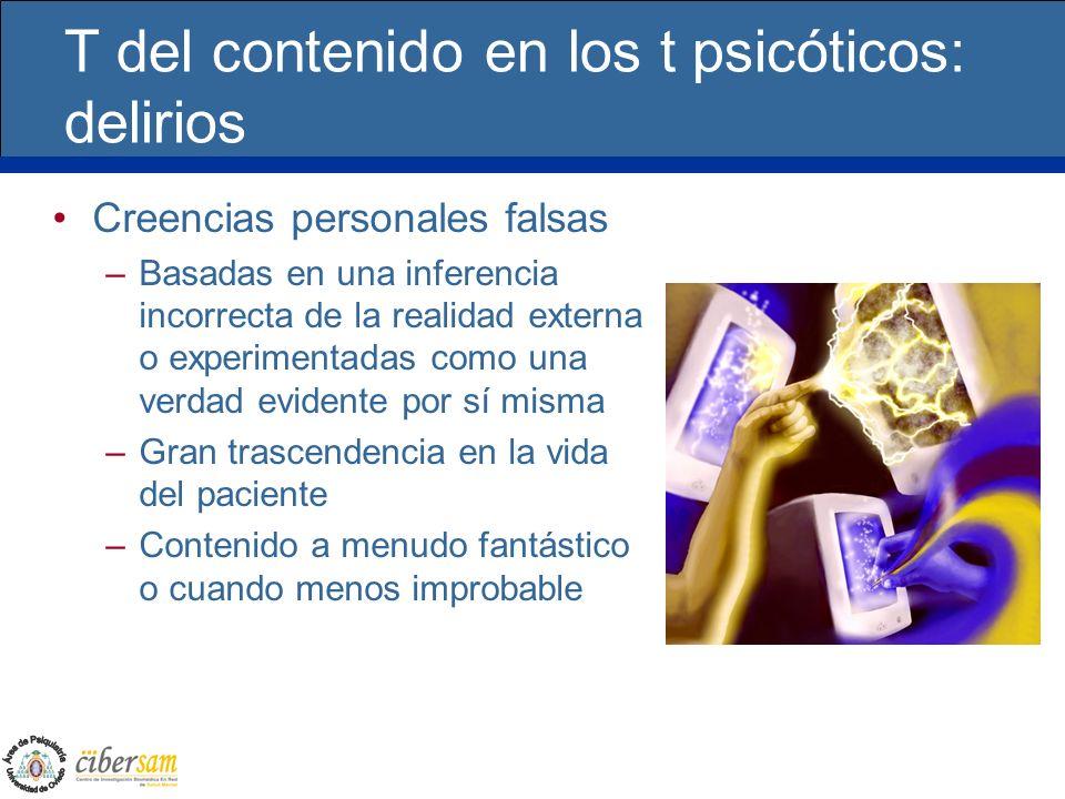T del contenido en los t psicóticos: delirios Creencias personales falsas –Basadas en una inferencia incorrecta de la realidad externa o experimentada