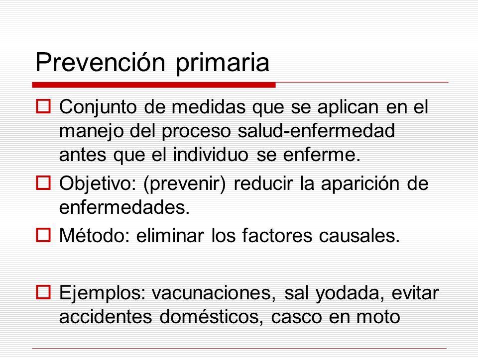 Prevención secundaria Objetivo: reducir la duración de la enfermedad.