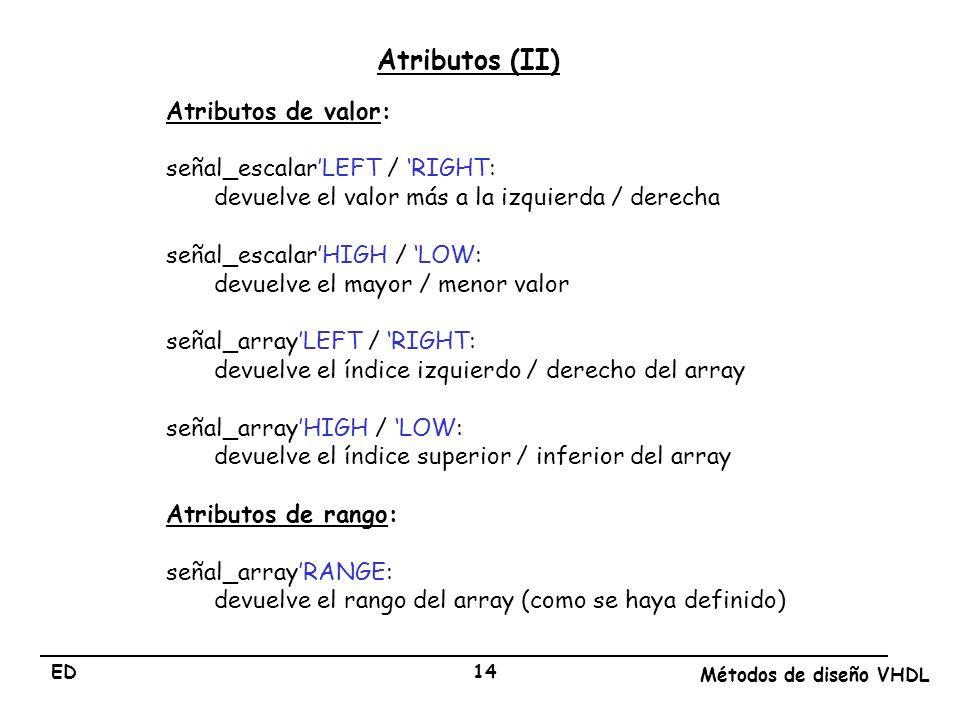 ED Métodos de diseño VHDL 14 Atributos (II) Atributos de valor: señal_escalarLEFT / RIGHT: devuelve el valor más a la izquierda / derecha señal_escala