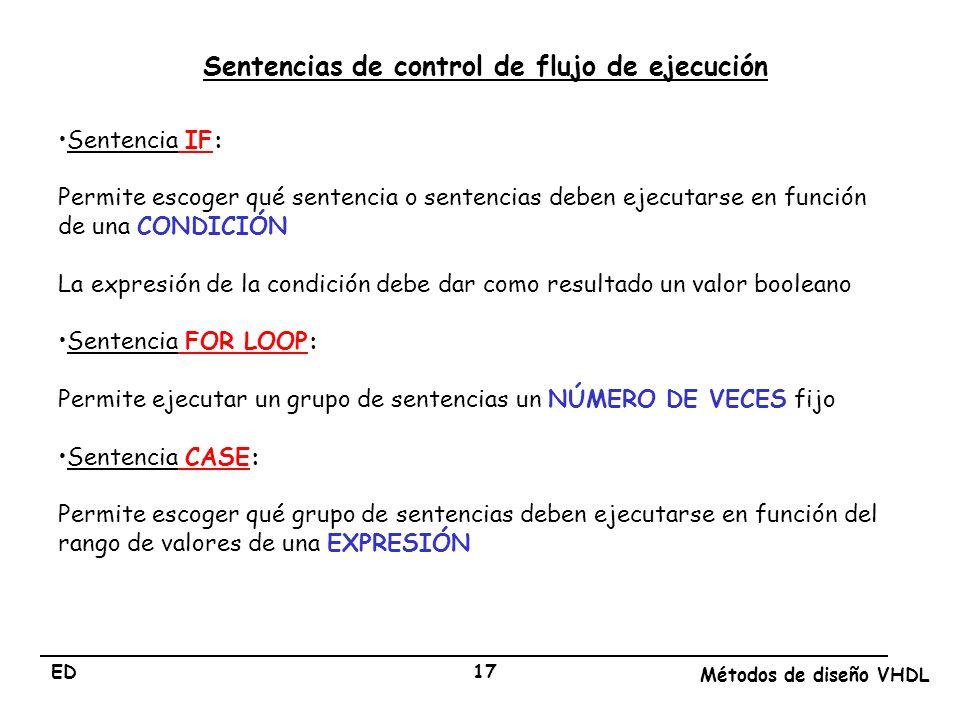 ED Métodos de diseño VHDL 17 Sentencia IF: Permite escoger qué sentencia o sentencias deben ejecutarse en función de una CONDICIÓN La expresión de la