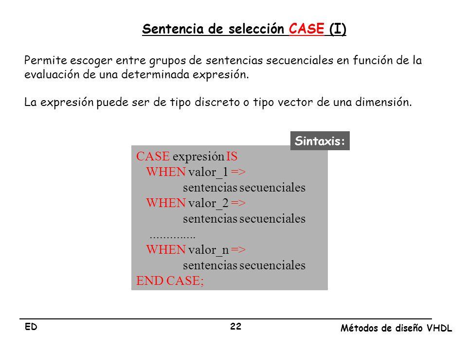 ED Métodos de diseño VHDL 22 Sentencia de selección CASE (I) Permite escoger entre grupos de sentencias secuenciales en función de la evaluación de un