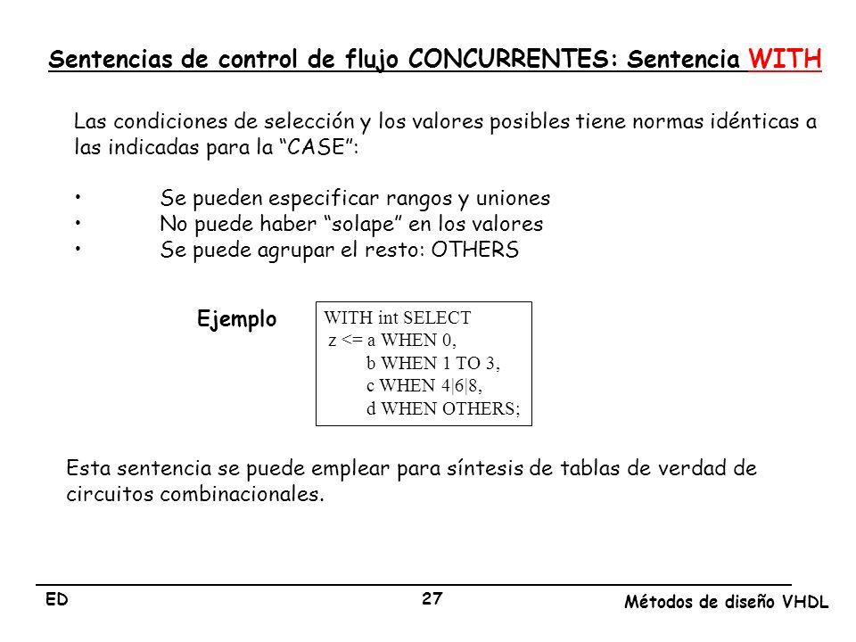 ED Métodos de diseño VHDL 27 Las condiciones de selección y los valores posibles tiene normas idénticas a las indicadas para la CASE: Se pueden especi