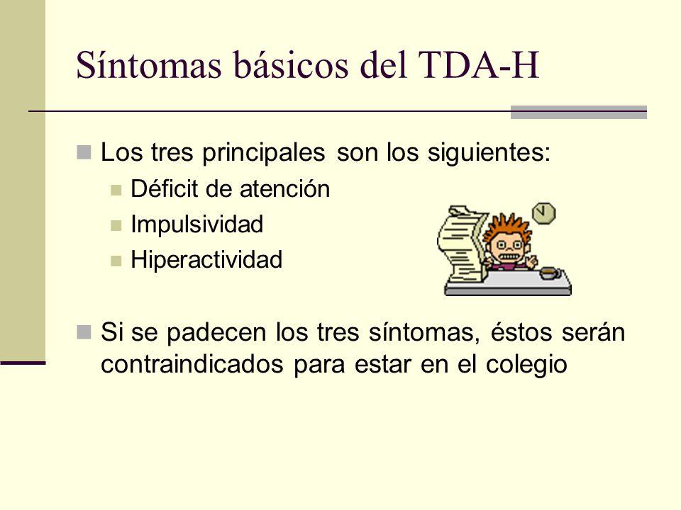 Síntomas básicos del TDA-H Los tres principales son los siguientes: Déficit de atención Impulsividad Hiperactividad Si se padecen los tres síntomas, é