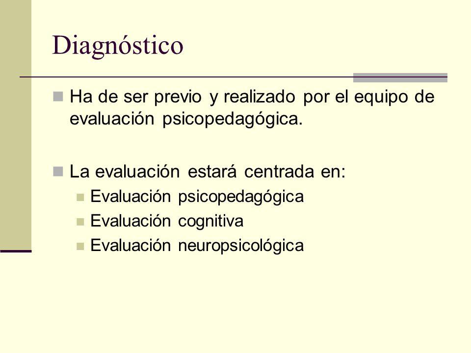 Diagnóstico Ha de ser previo y realizado por el equipo de evaluación psicopedagógica. La evaluación estará centrada en: Evaluación psicopedagógica Eva