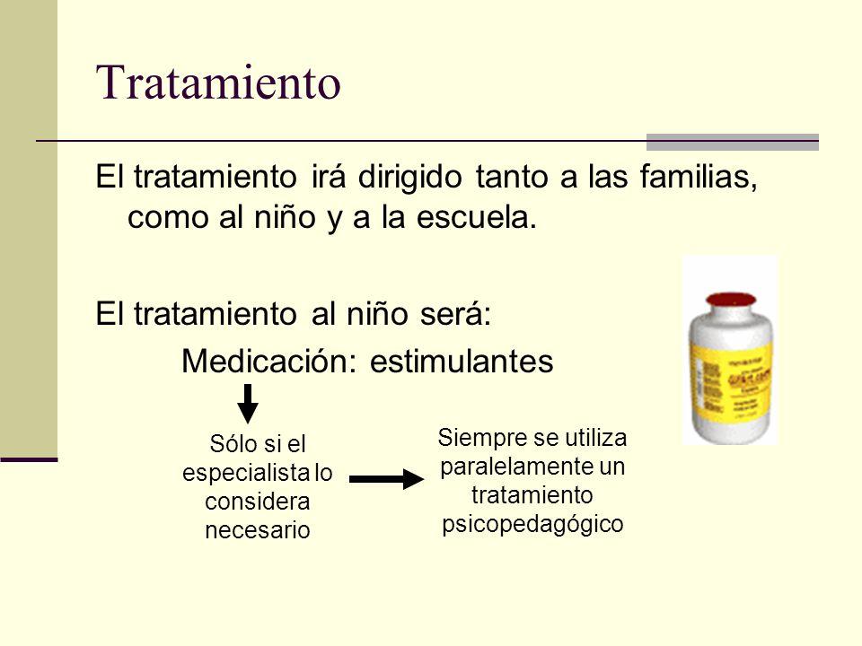 Tratamiento El tratamiento irá dirigido tanto a las familias, como al niño y a la escuela. El tratamiento al niño será: Medicación: estimulantes Sólo