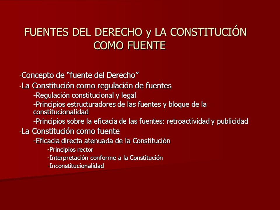 FUENTES DEL DERECHO y LA CONSTITUCIÓN COMO FUENTE - Concepto de fuente del Derecho - La Constitución como regulación de fuentes -Regulación constituci