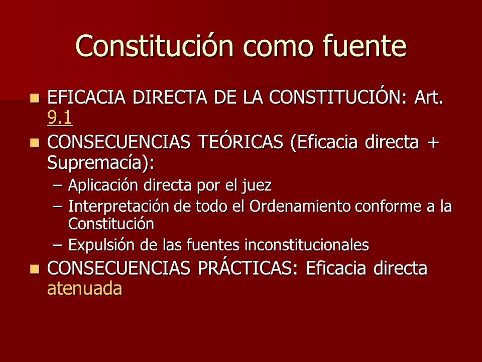 Constitución como fuente EFICACIA DIRECTA DE LA CONSTITUCIÓN: Art. 9.1 EFICACIA DIRECTA DE LA CONSTITUCIÓN: Art. 9.1 9.1 CONSECUENCIAS TEÓRICAS (Efica