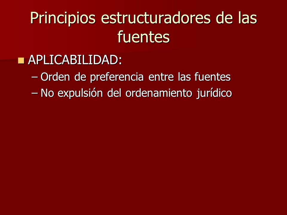 Principios estructuradores de las fuentes APLICABILIDAD: APLICABILIDAD: –Orden de preferencia entre las fuentes –No expulsión del ordenamiento jurídic