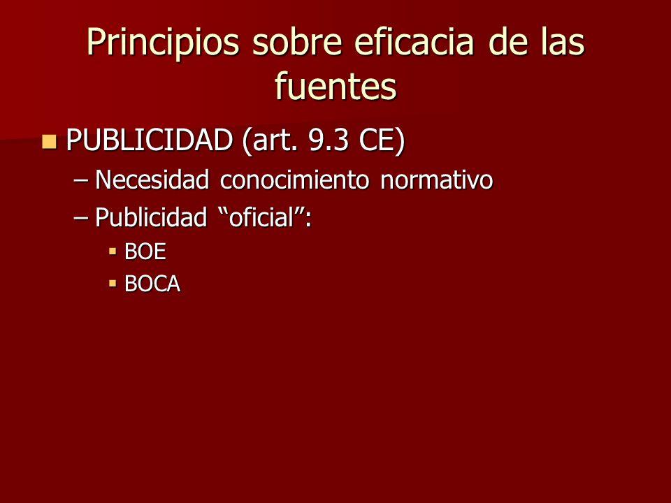 Principios sobre eficacia de las fuentes PUBLICIDAD (art. 9.3 CE) PUBLICIDAD (art. 9.3 CE) –Necesidad conocimiento normativo –Publicidad oficial: BOE
