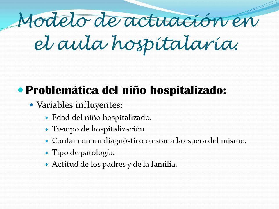 Problemática del niño hospitalizado: Variables influyentes: Edad del niño hospitalizado. Tiempo de hospitalización. Contar con un diagnóstico o estar