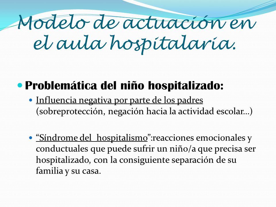 Problemática del niño hospitalizado: Influencia negativa por parte de los padres (sobreprotección, negación hacia la actividad escolar…) Síndrome del