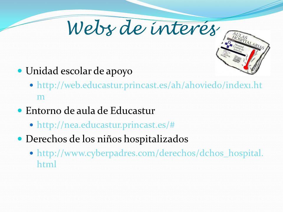 Webs de interés Unidad escolar de apoyo http://web.educastur.princast.es/ah/ahoviedo/index1.ht m Entorno de aula de Educastur http://nea.educastur.pri