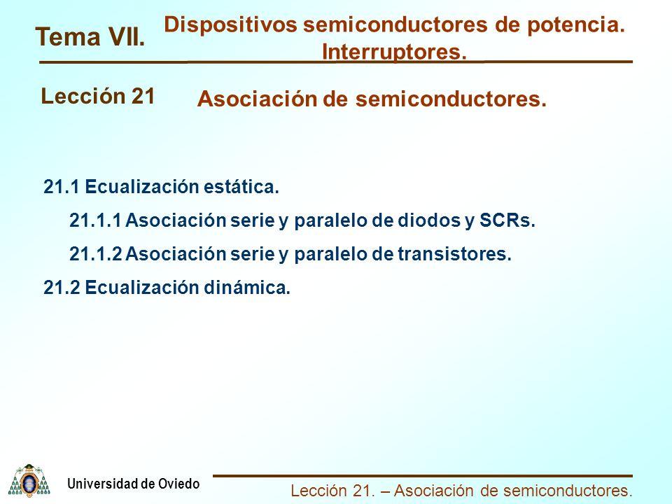 Lección 21. – Asociación de semiconductores. Universidad de Oviedo Tema VII. Dispositivos semiconductores de potencia. Interruptores. Lección 21 21.1