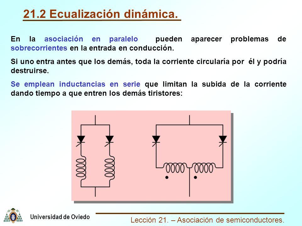 Lección 21. – Asociación de semiconductores. Universidad de Oviedo 21.2 Ecualización dinámica. En la asociación en paralelo pueden aparecer problemas