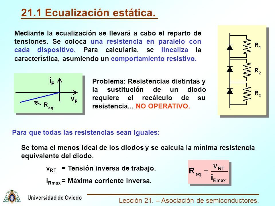 Lección 21. – Asociación de semiconductores. Universidad de Oviedo 21.1 Ecualización estática. Mediante la ecualización se llevará a cabo el reparto d