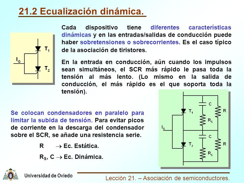 Lección 21. – Asociación de semiconductores. Universidad de Oviedo 21.2 Ecualización dinámica. Cada dispositivo tiene diferentes características dinám