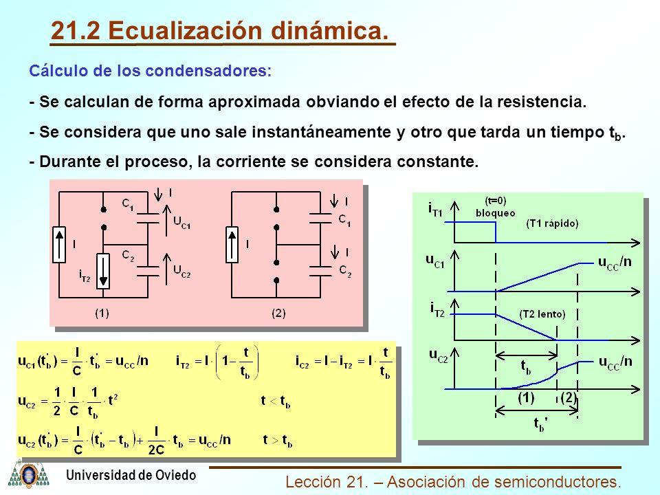 Lección 21. – Asociación de semiconductores. Universidad de Oviedo 21.2 Ecualización dinámica. Cálculo de los condensadores: - Se calculan de forma ap