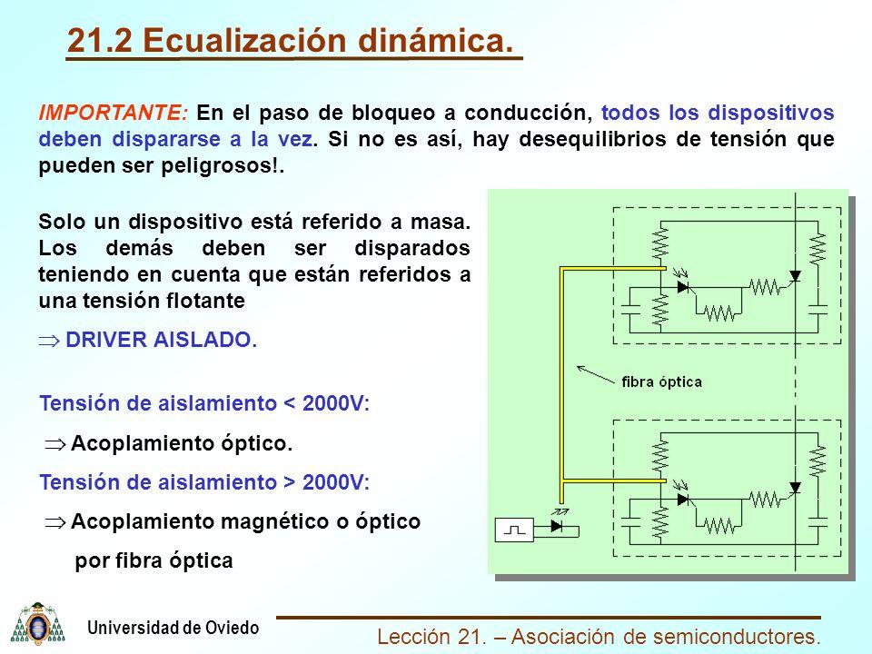 Lección 21. – Asociación de semiconductores. Universidad de Oviedo 21.2 Ecualización dinámica. IMPORTANTE: En el paso de bloqueo a conducción, todos l