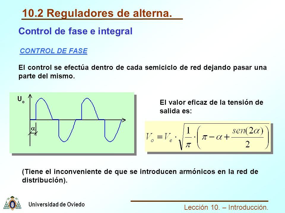 Lección 10. – Introducción. Universidad de Oviedo 10.2 Reguladores de alterna. CONTROL DE FASE El control se efectúa dentro de cada semiciclo de red d