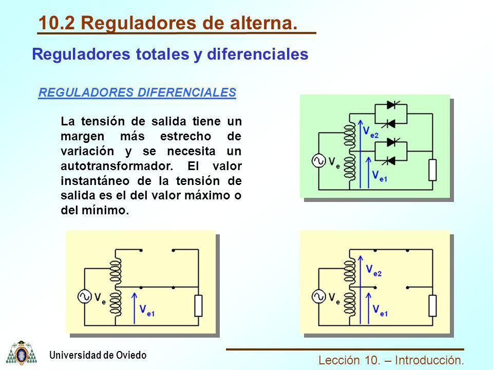 Lección 10. – Introducción. Universidad de Oviedo 10.2 Reguladores de alterna. Reguladores totales y diferenciales REGULADORES DIFERENCIALES La tensió