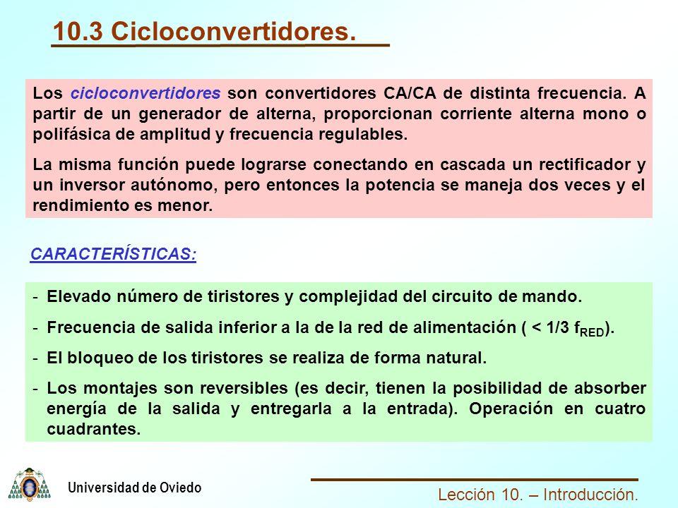 Lección 10. – Introducción. Universidad de Oviedo 10.3 Cicloconvertidores. Los cicloconvertidores son convertidores CA/CA de distinta frecuencia. A pa
