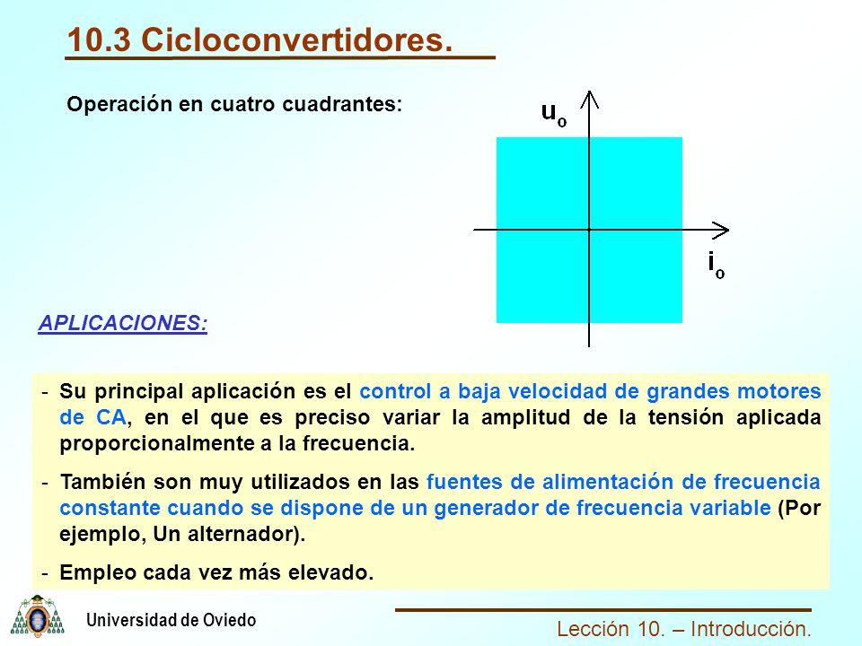 Lección 10. – Introducción. Universidad de Oviedo 10.3 Cicloconvertidores. APLICACIONES: -Su principal aplicación es el control a baja velocidad de gr