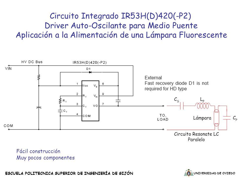UNIVERSIDAD DE OVIEDO ESCUELA POLITECNICA SUPERIOR DE INGENIERÍA DE GIJÓN Fácil construcción Muy pocos componentes Circuito Integrado IR53H(D)420(-P2)