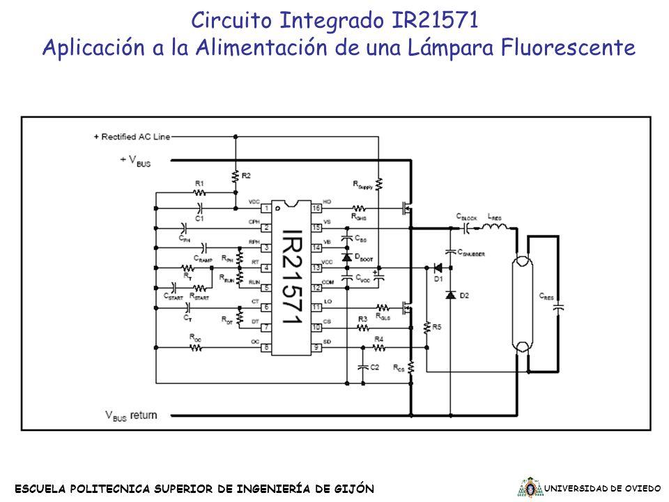 UNIVERSIDAD DE OVIEDO ESCUELA POLITECNICA SUPERIOR DE INGENIERÍA DE GIJÓN Circuito Integrado IR21571 Aplicación a la Alimentación de una Lámpara Fluor