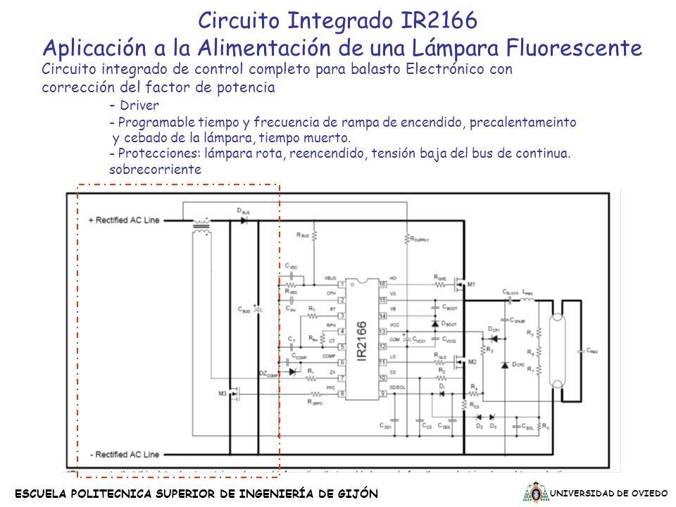 UNIVERSIDAD DE OVIEDO ESCUELA POLITECNICA SUPERIOR DE INGENIERÍA DE GIJÓN Circuito Integrado IR2166 Aplicación a la Alimentación de una Lámpara Fluore