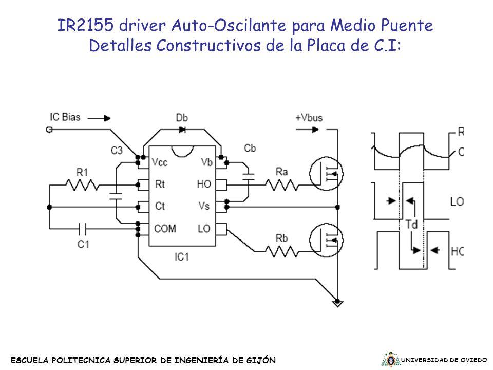 UNIVERSIDAD DE OVIEDO ESCUELA POLITECNICA SUPERIOR DE INGENIERÍA DE GIJÓN IR2155 driver Auto-Oscilante para Medio Puente Detalles Constructivos de la