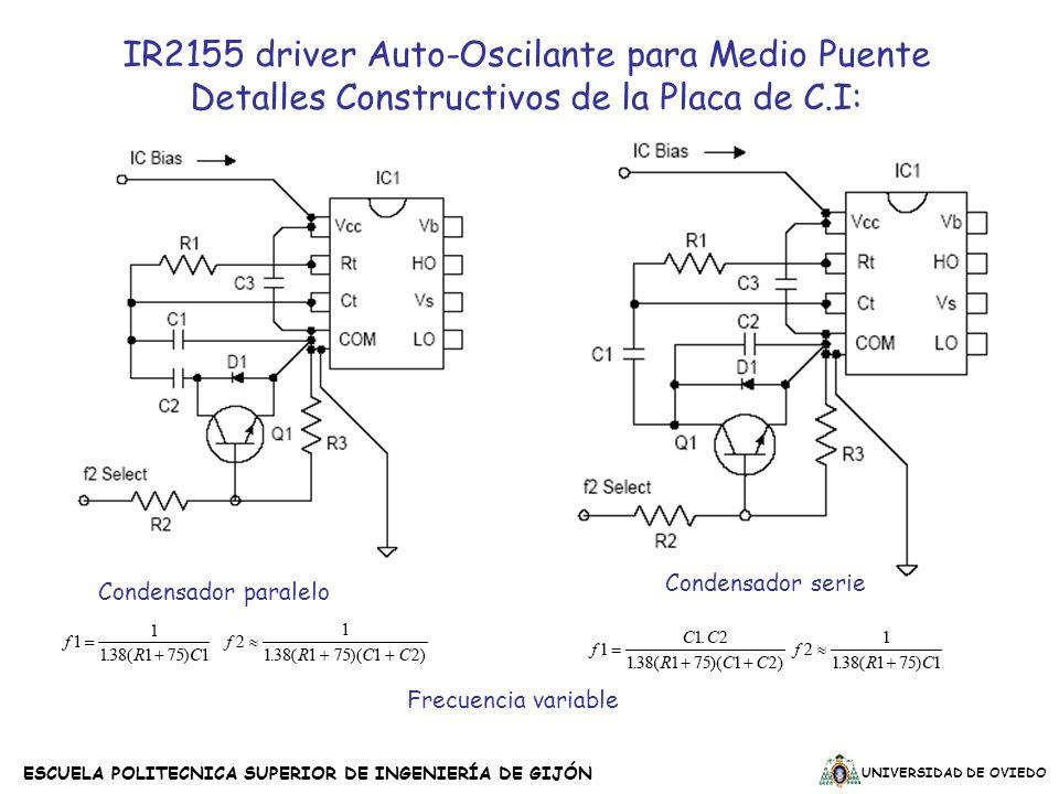 UNIVERSIDAD DE OVIEDO ESCUELA POLITECNICA SUPERIOR DE INGENIERÍA DE GIJÓN Frecuencia variable Condensador serie Condensador paralelo IR2155 driver Aut