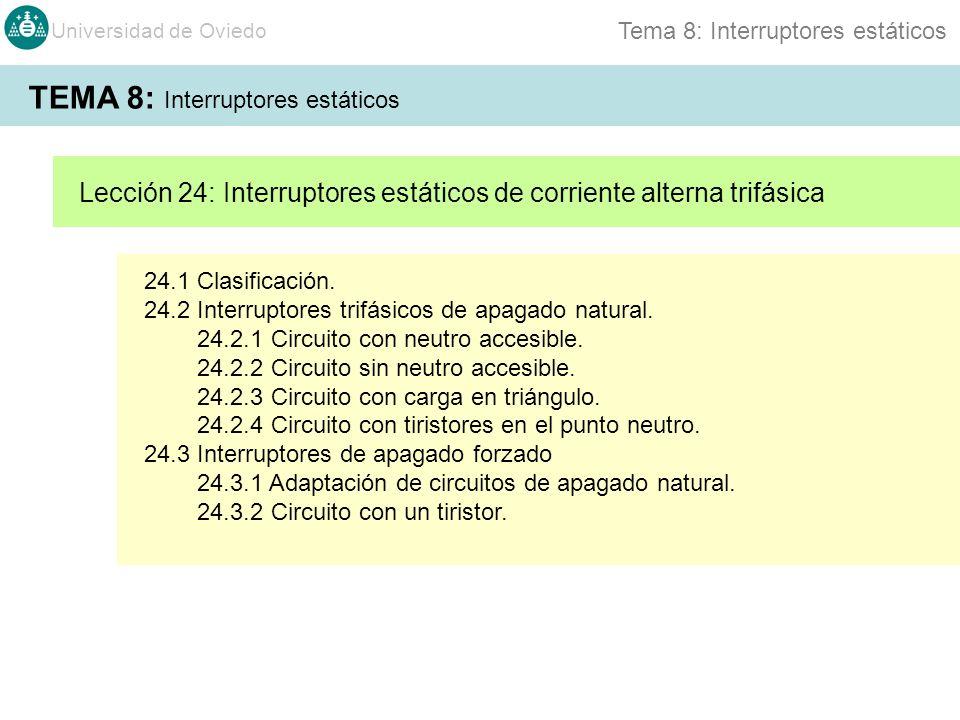 Universidad de Oviedo Tema 8: Interruptores estáticos 24.1 Clasificación. 24.2 Interruptores trifásicos de apagado natural. 24.2.1 Circuito con neutro