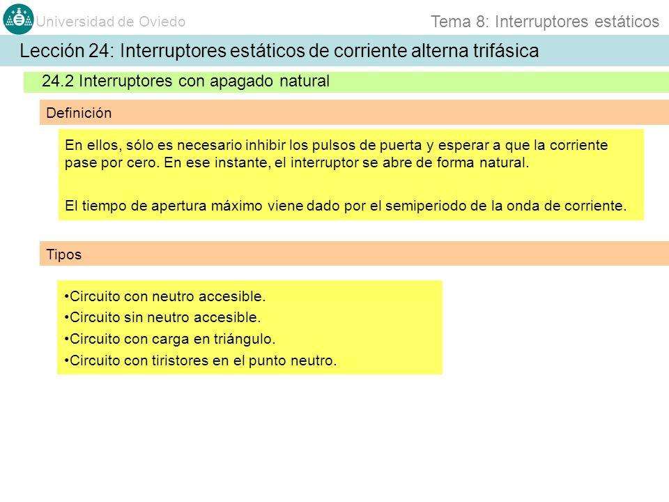 Universidad de Oviedo Tema 8: Interruptores estáticos 24.2 Interruptores con apagado natural Definición En ellos, sólo es necesario inhibir los pulsos de puerta y esperar a que la corriente pase por cero.