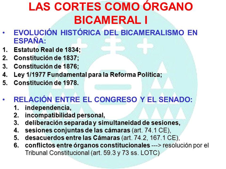 LAS CORTES COMO ÓRGANO BICAMERAL II EL BICAMERALISMO IMPERFECTO EN LA C.