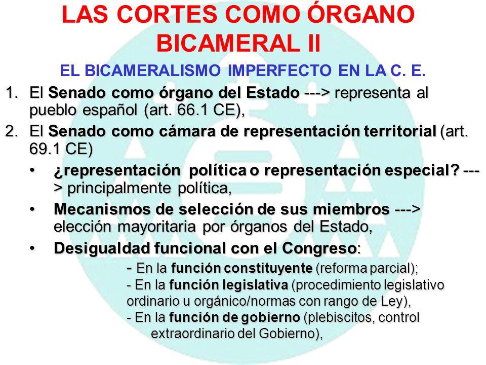 LAS CORTES COMO ÓRGANO BICAMERAL III EL BICAMERALISMO IMPERFECTO EN LA C.