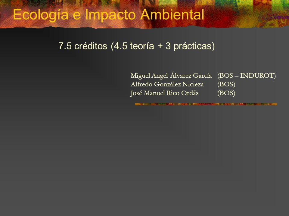 Ecología e Impacto Ambiental Miguel Angel Álvarez García(BOS – INDUROT) Alfredo González Nicieza(BOS) José Manuel Rico Ordás(BOS) 7.5 créditos (4.5 te