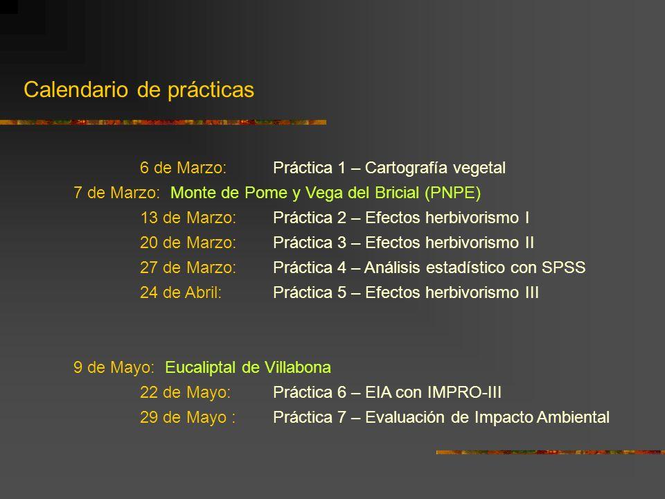 Calendario de prácticas 6 de Marzo: Práctica 1 – Cartografía vegetal 7 de Marzo: Monte de Pome y Vega del Bricial (PNPE) 13 de Marzo: Práctica 2 – Efe