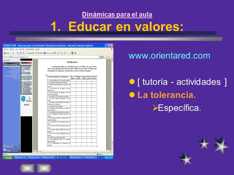 www.orientared.com [ tutoría - actividades ] La tolerancia. Específica.